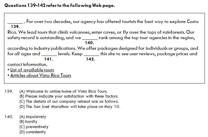 ตัวอย่างข้อสอบชุด TOEIC Updated Version มีภาพประกอบใน Part Reading